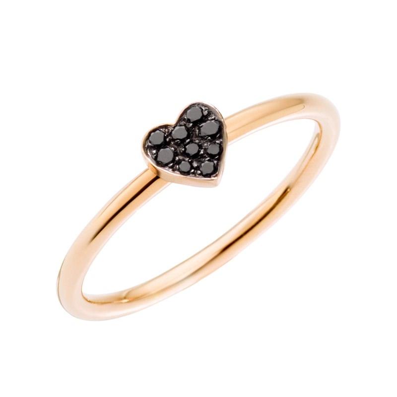 Anello Cuore con diamanti black - Dodo